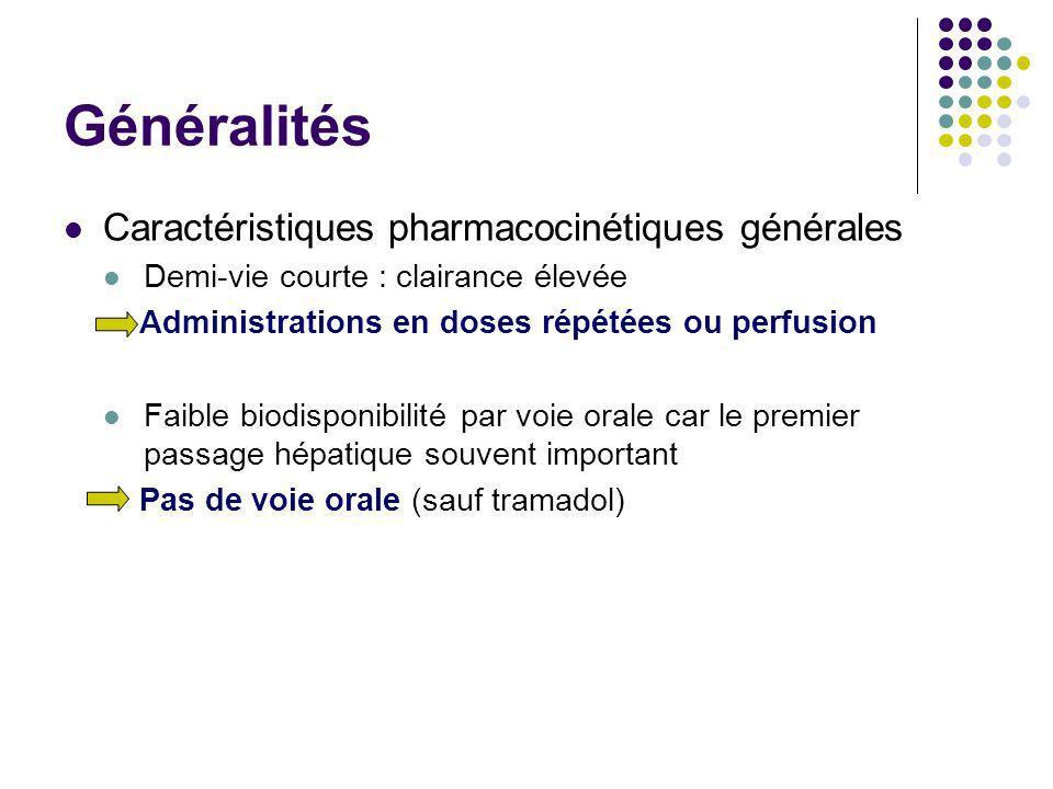 Généralités Caractéristiques pharmacocinétiques générales