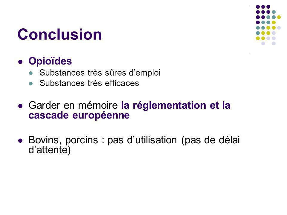 Conclusion Opioïdes. Substances très sûres d'emploi. Substances très efficaces. Garder en mémoire la réglementation et la cascade européenne.