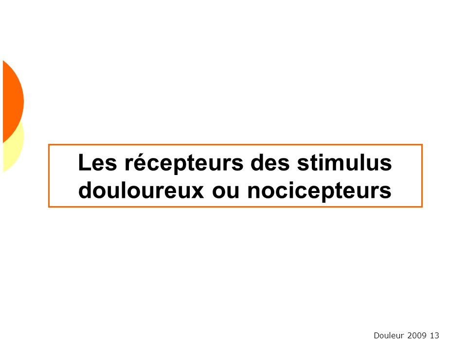 Les récepteurs des stimulus douloureux ou nocicepteurs