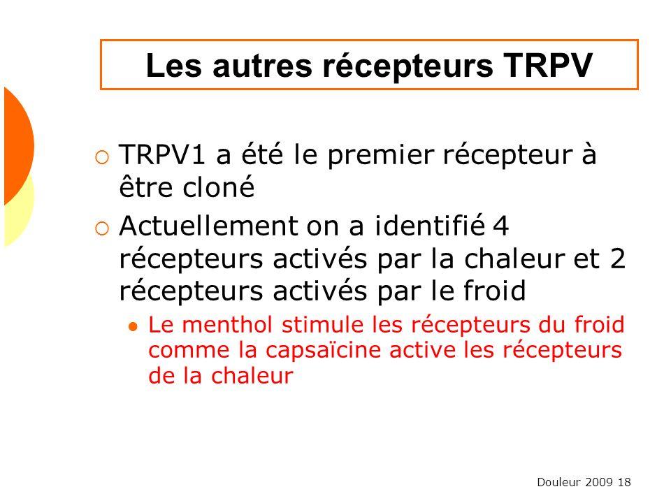 Les autres récepteurs TRPV