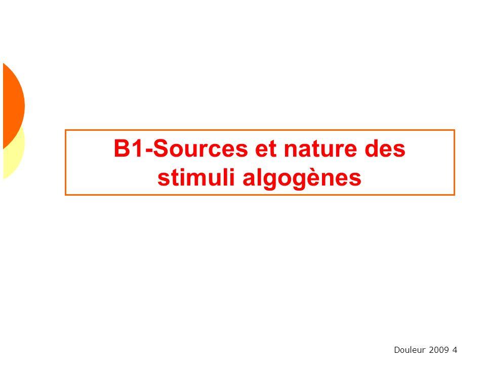 B1-Sources et nature des stimuli algogènes