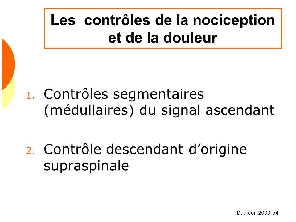 Les contrôles de la nociception et de la douleur
