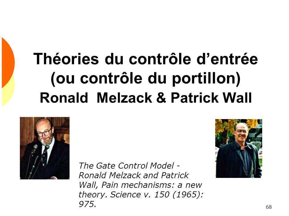 Théories du contrôle d'entrée (ou contrôle du portillon) Ronald Melzack & Patrick Wall