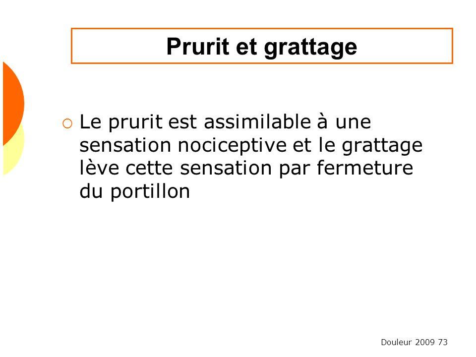 Prurit et grattage Le prurit est assimilable à une sensation nociceptive et le grattage lève cette sensation par fermeture du portillon.