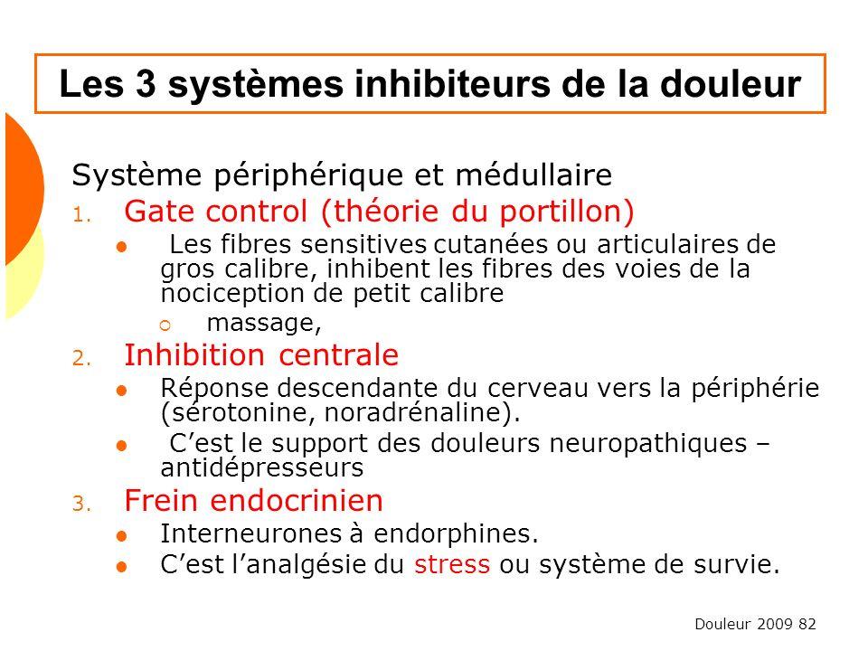 Les 3 systèmes inhibiteurs de la douleur