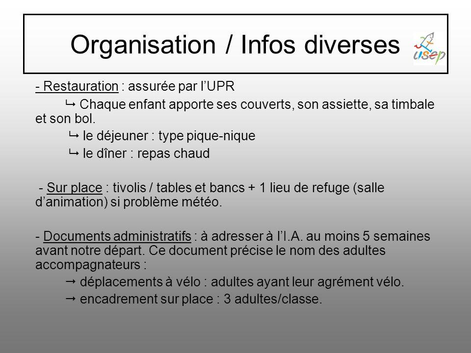 Organisation / Infos diverses