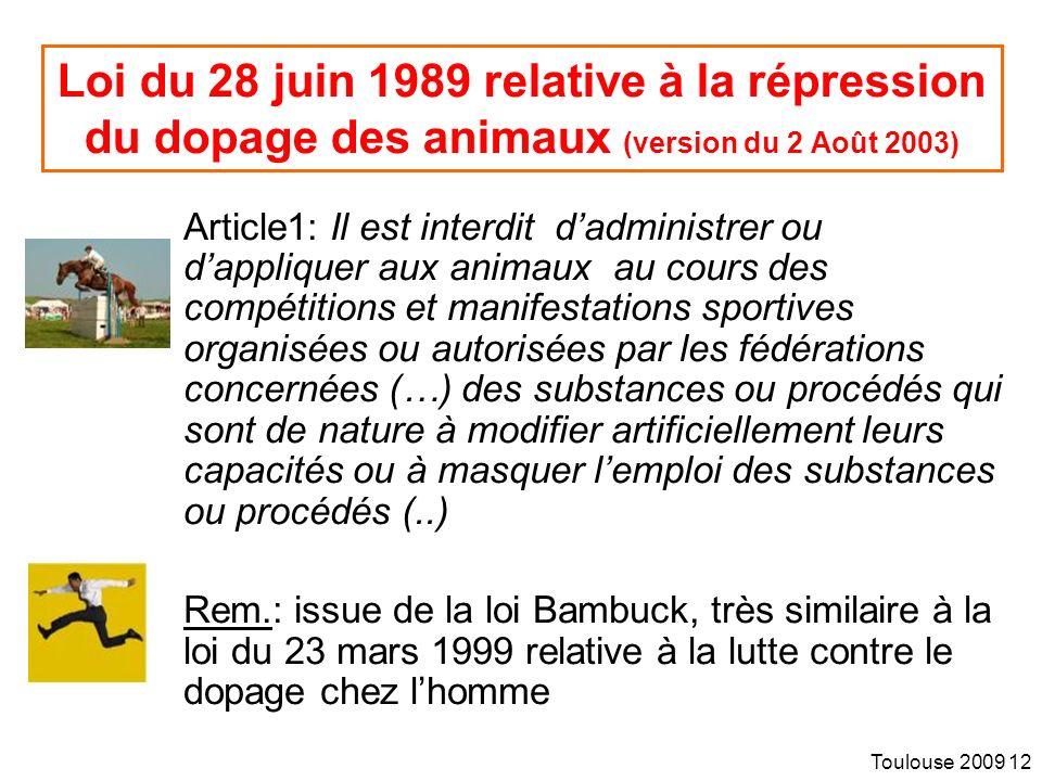 Loi du 28 juin 1989 relative à la répression du dopage des animaux (version du 2 Août 2003)