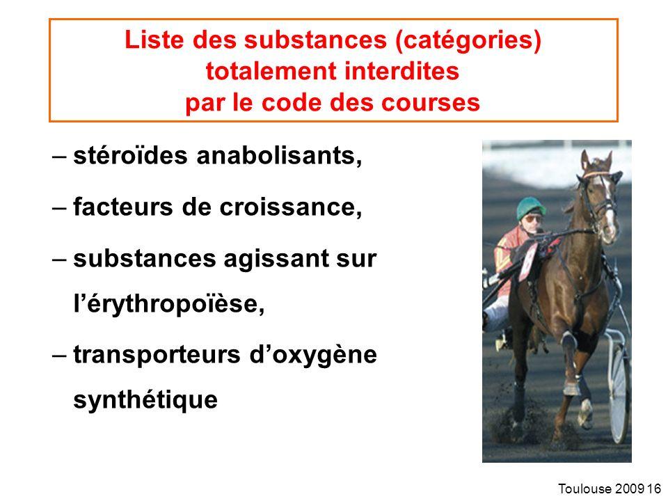 Liste des substances (catégories) totalement interdites par le code des courses
