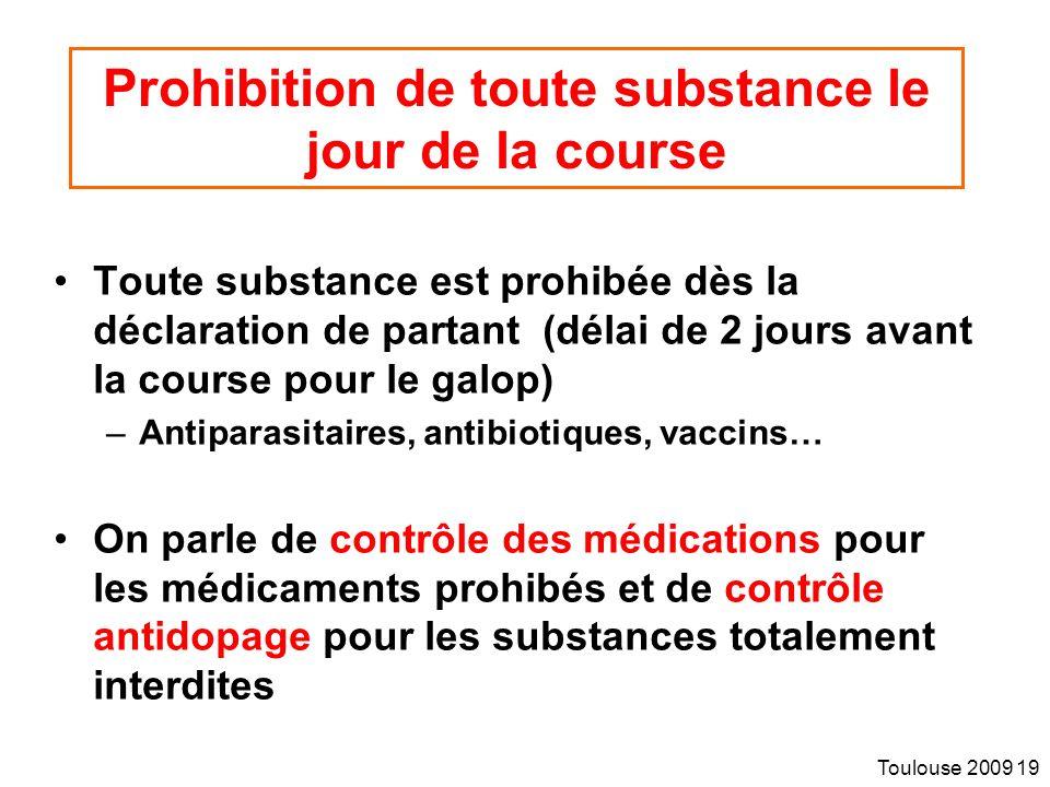 Prohibition de toute substance le jour de la course