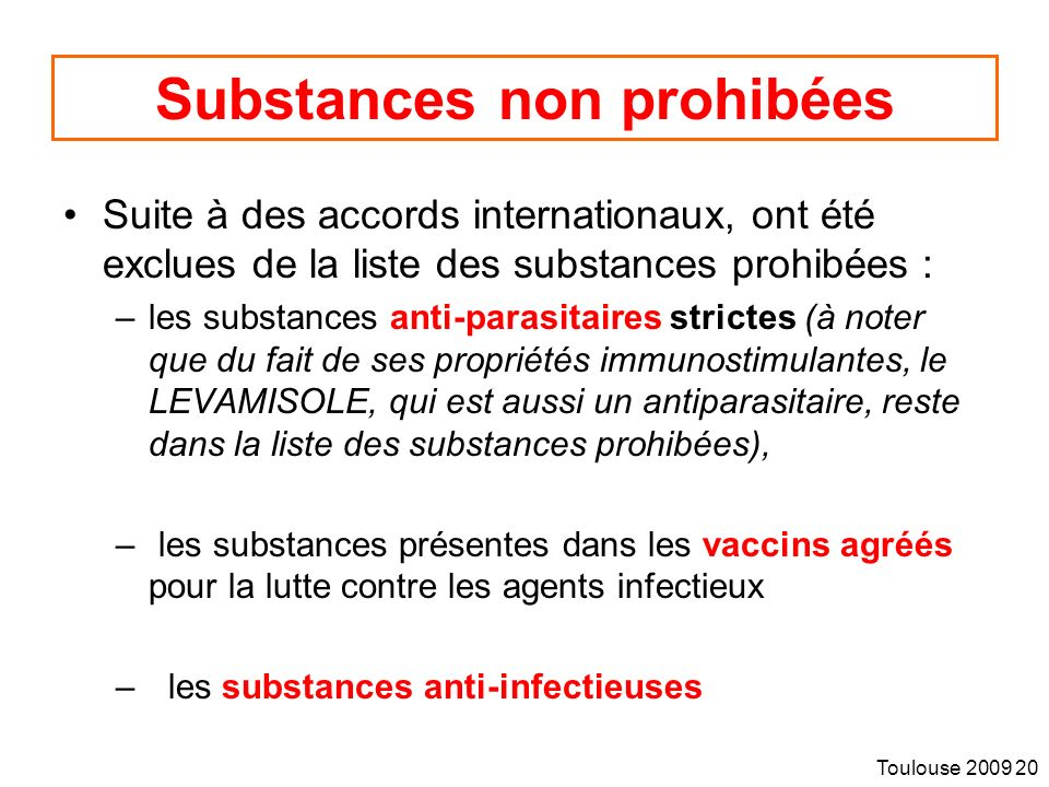 Substances non prohibées