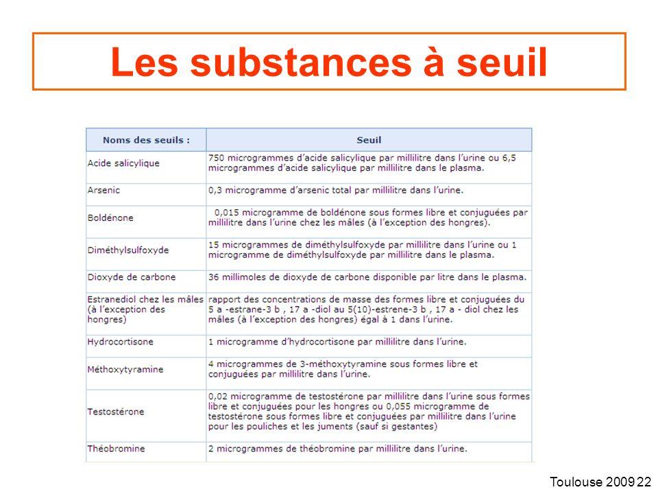 Les substances à seuil