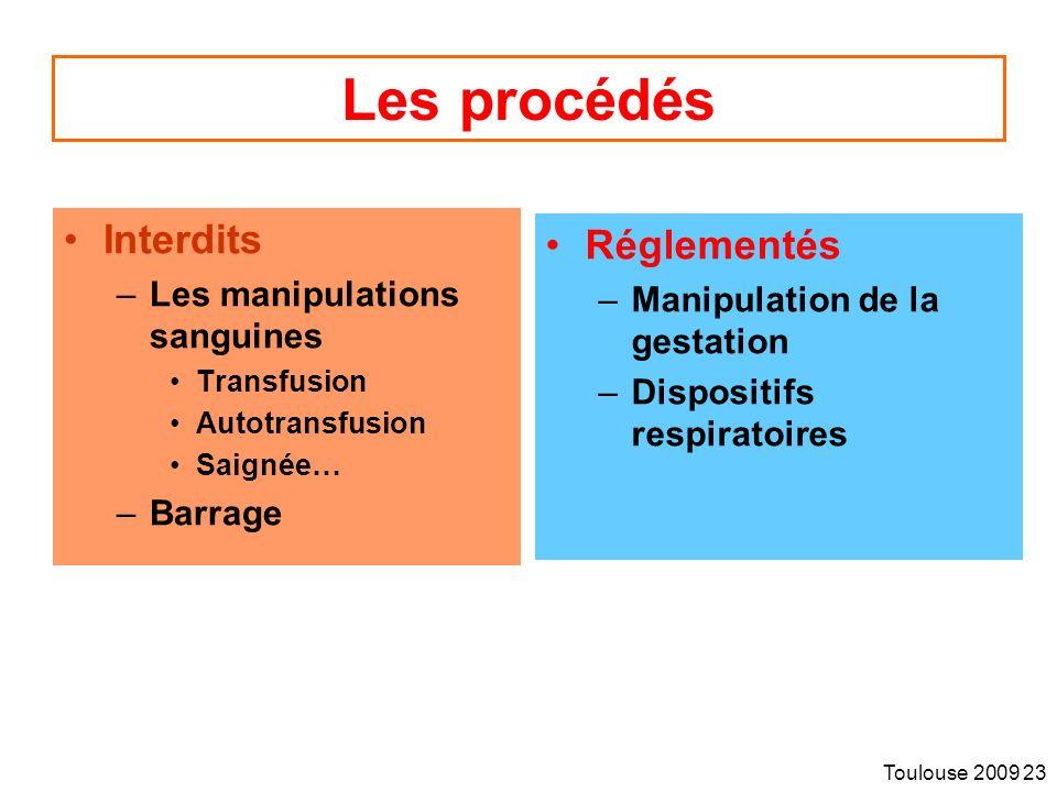 Les procédés Interdits Réglementés Les manipulations sanguines