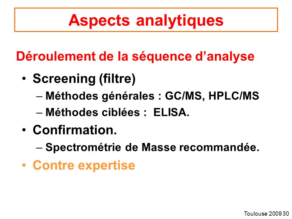 Aspects analytiques Déroulement de la séquence d'analyse