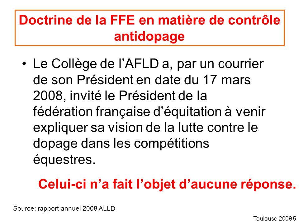 Doctrine de la FFE en matière de contrôle antidopage