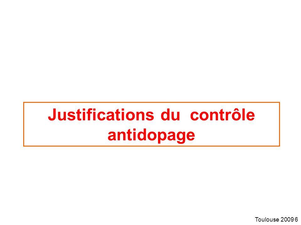 Justifications du contrôle antidopage