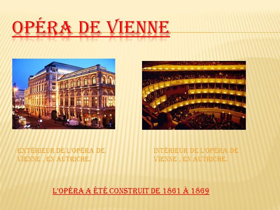 Opéra de Vienne L'Opéra a été construit de 1861 à 1869