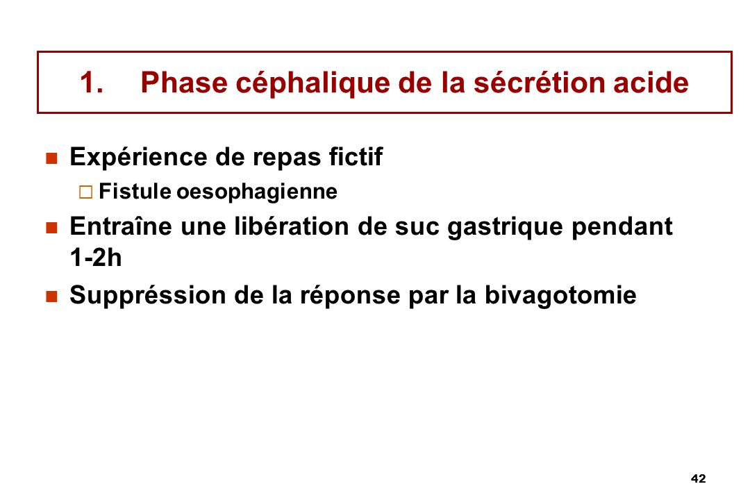 Phase céphalique de la sécrétion acide