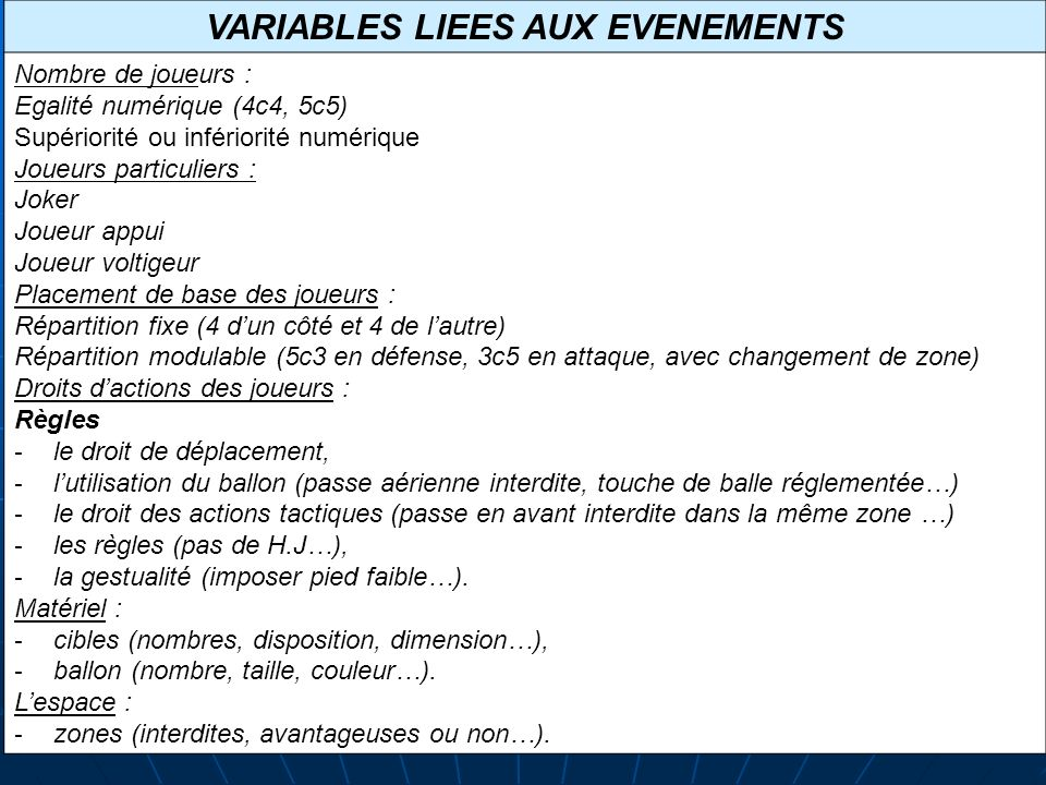 VARIABLES LIEES AUX EVENEMENTS