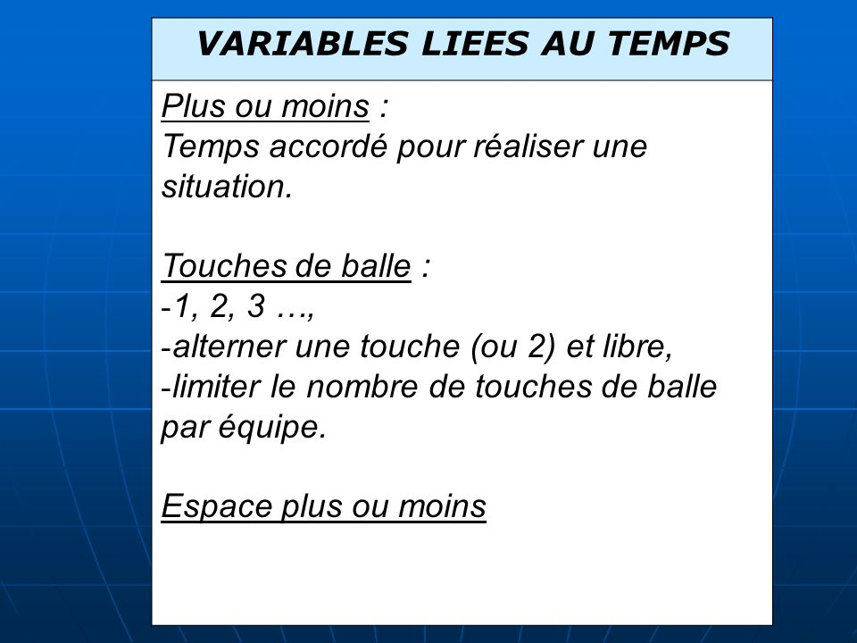 VARIABLES LIEES AU TEMPS