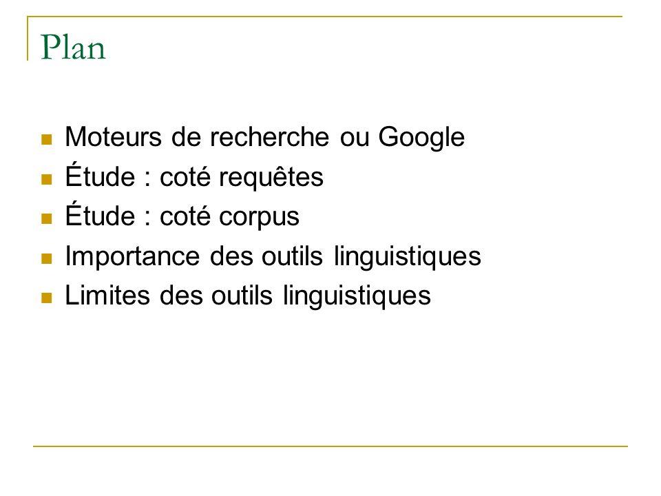 Plan Moteurs de recherche ou Google Étude : coté requêtes