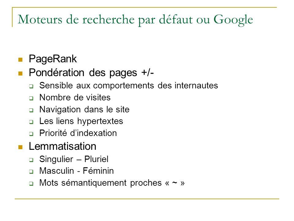 Moteurs de recherche par défaut ou Google