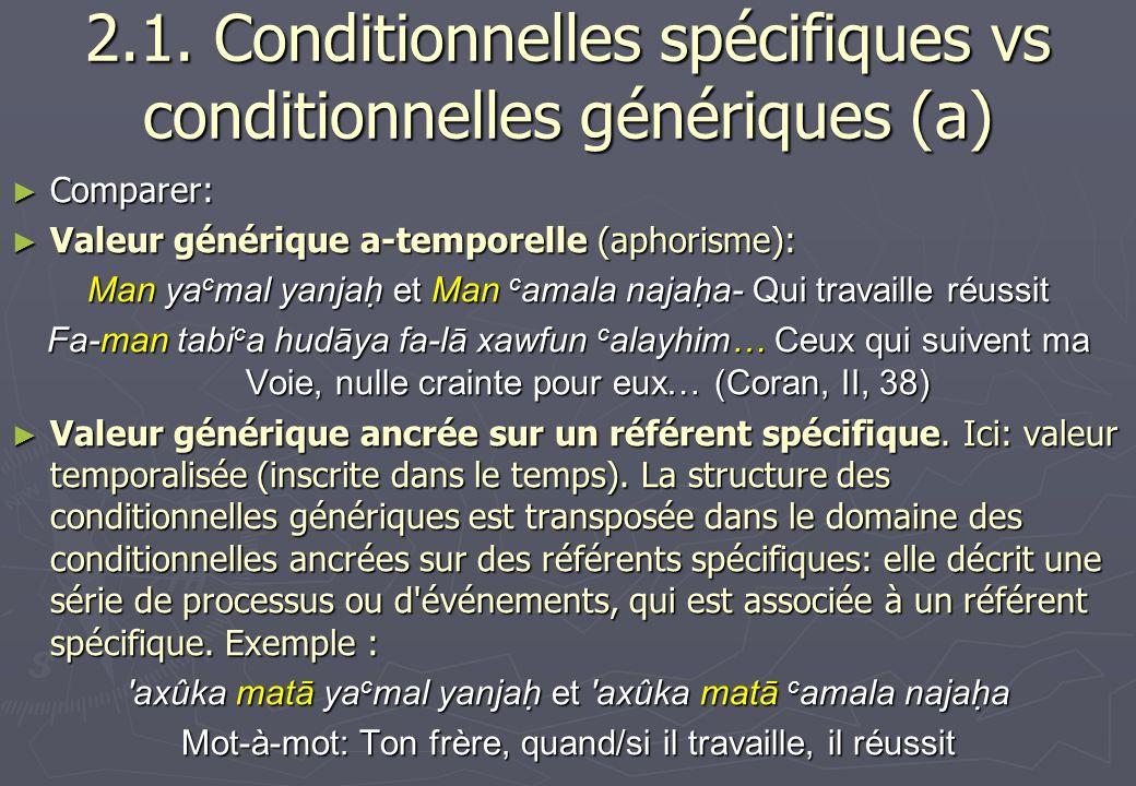 2.1. Conditionnelles spécifiques vs conditionnelles génériques (a)