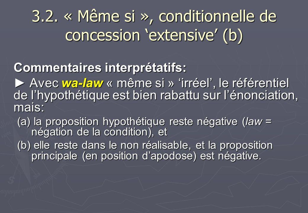 3.2. « Même si », conditionnelle de concession 'extensive' (b)