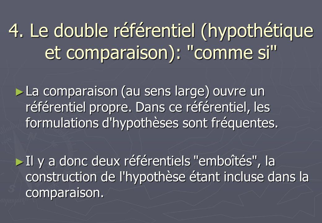 4. Le double référentiel (hypothétique et comparaison): comme si