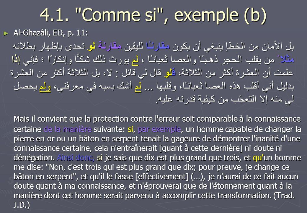 4.1. Comme si , exemple (b) Al-Ghazâli, ED, p. 11: