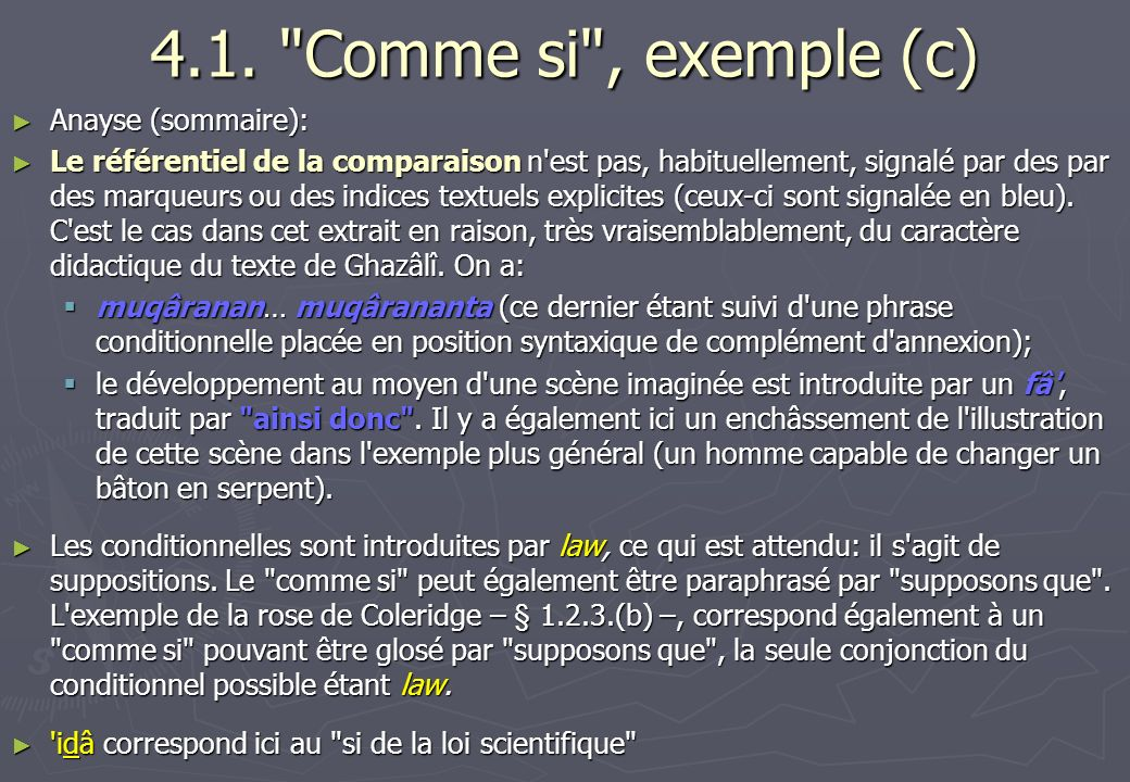4.1. Comme si , exemple (c) Anayse (sommaire):
