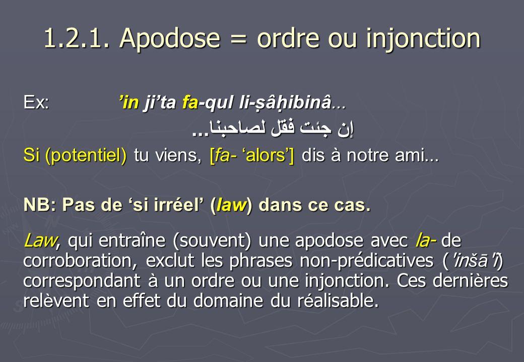 1.2.1. Apodose = ordre ou injonction