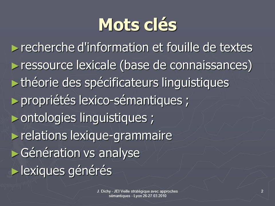 Mots clés recherche d information et fouille de textes