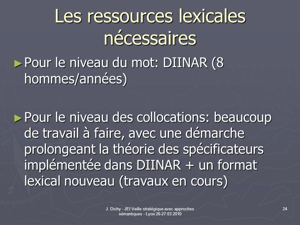 Les ressources lexicales nécessaires