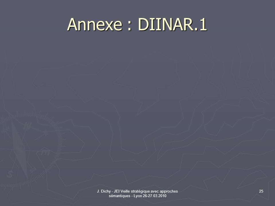 Annexe : DIINAR.1 J. Dichy - JEI Veille stratégique avec approches sémantiques - Lyon 26-27.03.2010