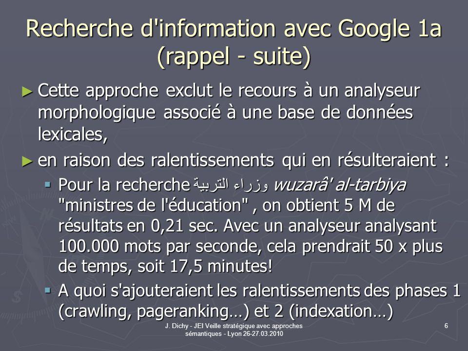 Recherche d information avec Google 1a (rappel - suite)