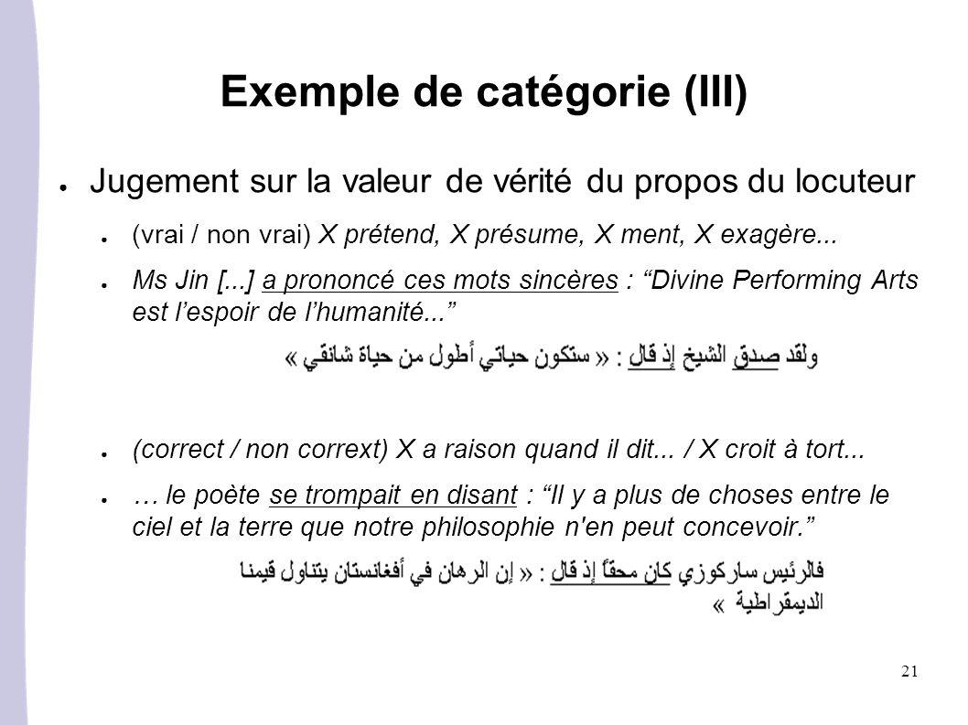 Exemple de catégorie (III)