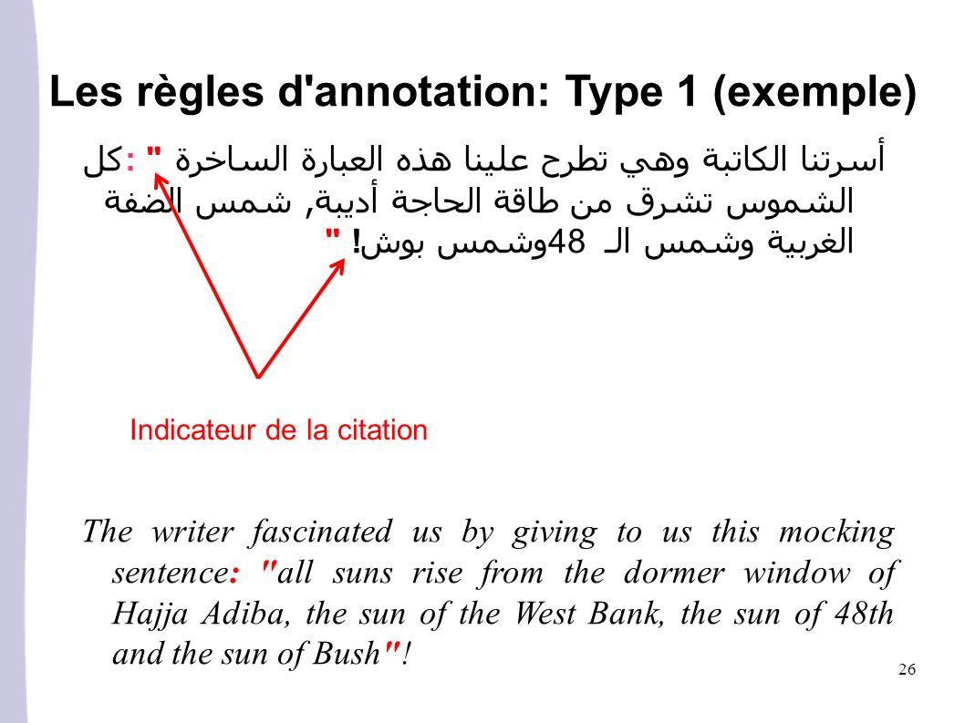 Les règles d annotation: Type 1 (exemple)