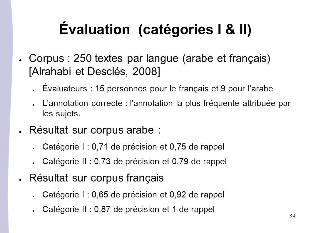 Évaluation (catégories I & II)