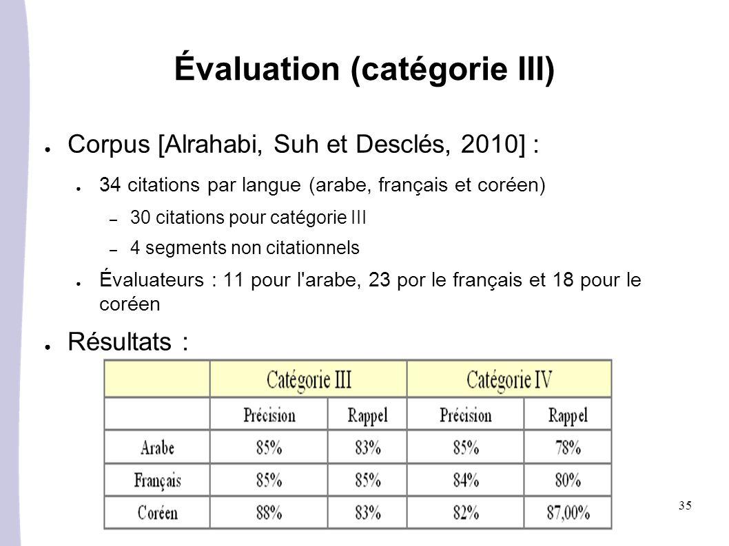 Évaluation (catégorie III)