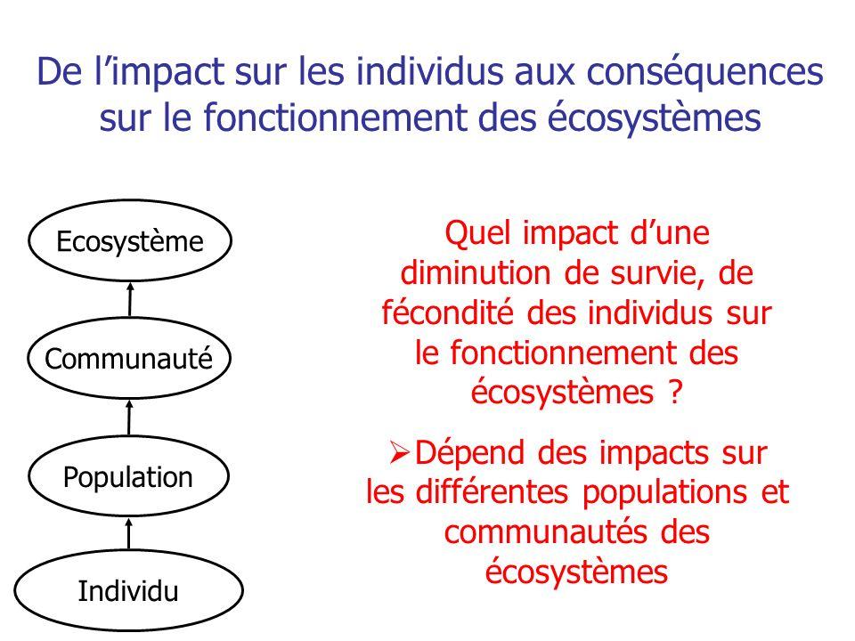 De l'impact sur les individus aux conséquences sur le fonctionnement des écosystèmes