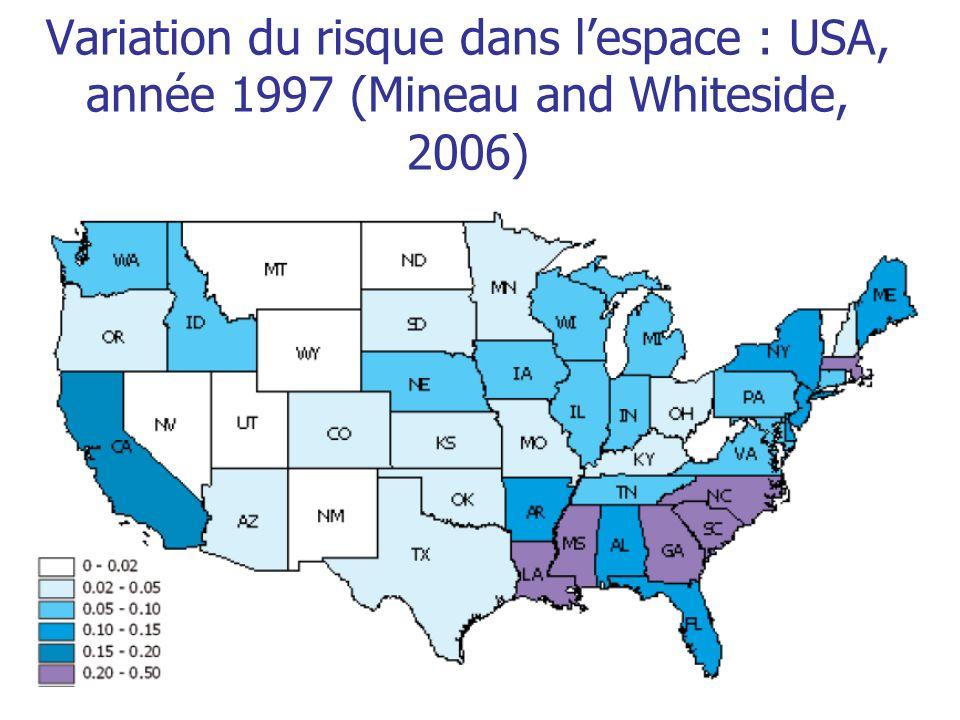 Variation du risque dans l'espace : USA, année 1997 (Mineau and Whiteside, 2006)