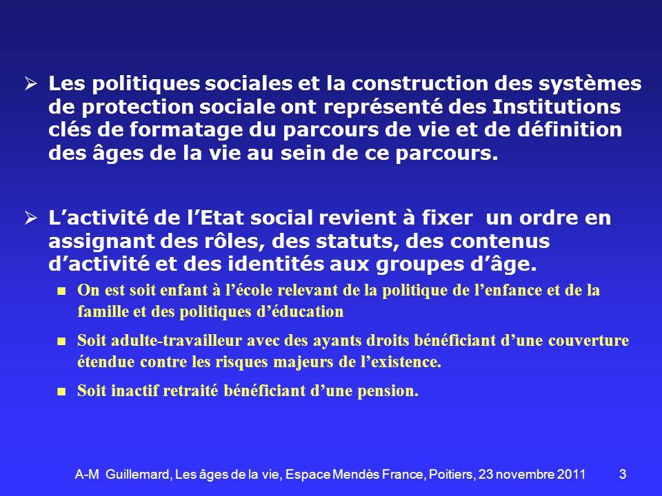 Les politiques sociales et la construction des systèmes de protection sociale ont représenté des Institutions clés de formatage du parcours de vie et de définition des âges de la vie au sein de ce parcours.