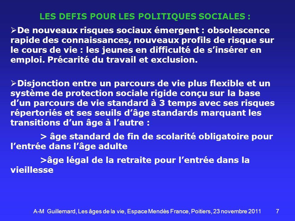 LES DEFIS POUR LES POLITIQUES SOCIALES :