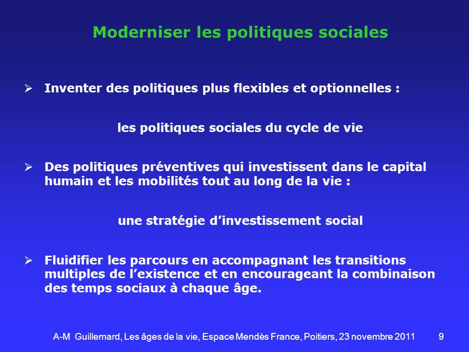 Moderniser les politiques sociales