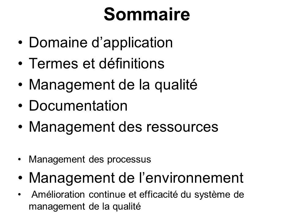 Sommaire Domaine d'application Termes et définitions