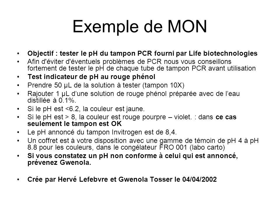 Exemple de MON Objectif : tester le pH du tampon PCR fourni par Life biotechnologies.