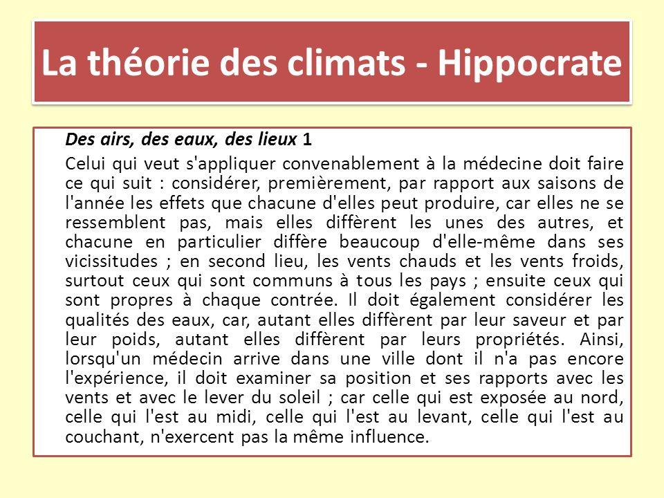 La théorie des climats - Hippocrate