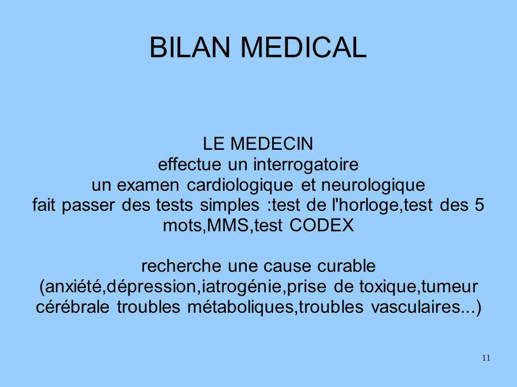 BILAN MEDICAL LE MEDECIN effectue un interrogatoire