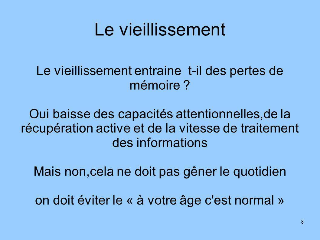 Le vieillissement Le vieillissement entraine t-il des pertes de mémoire