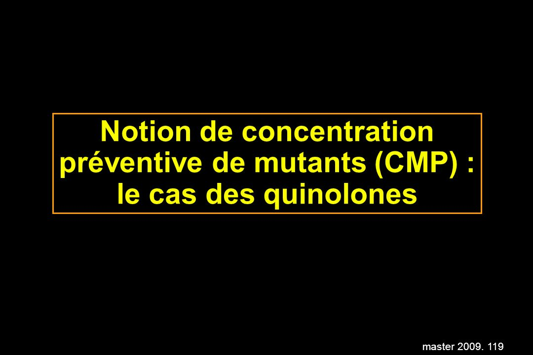 Notion de concentration préventive de mutants (CMP) : le cas des quinolones